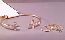 Christian Bracelet DOUBLE CROSS Design Rhinestone BONUS 3 Rings GOLD Tone