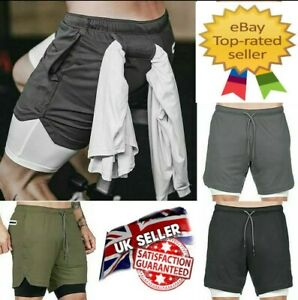Men Shorts 2 in 1 Running Shorts With Phone Pockets Sports Pants Gym Jogging UK