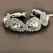 Shiny Silver Plated Water Drop Austrian Clear Crystal Bracelets Bridal Gift B14
