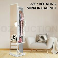 Rotating Mirror Jewellery Storage Cabinet Free Standing Armoire Organizer White