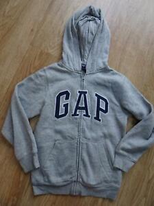 GAP boys grey hooded zip thru jumper hoodie AGE 8 - 9 YEARS EXCELLENT