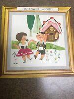 Vintage Birthday Card Hallmark Hansel Gretel Card Hanger Frame Wall Hanging