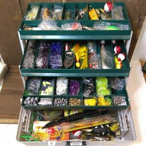 Vintage Fishing Lures & Plano Tackle Box & Contents Spinners Tools Knife 4 Tier