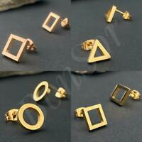 1 Paar Ohrstecker Quadrat Ohrringe Gold Dreieck eckig Piercing Ring Edelstahl