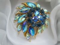Vintage Signed Sphinx Gold Tone Ab Blue Glass Flower 1970s Statement Brooch Pin