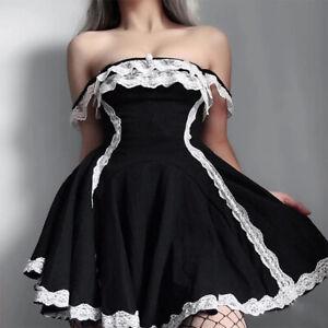 Gothic Women Girl Casual Sleeveless Lace Lolita Dress College Costume Halloween