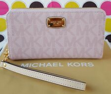 NEW MICHAEL KORS PVC JET SET LG COIN MF PHONE CASE WALLET IN PINK.