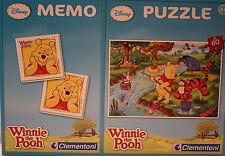 DISNEY/Winnie the Pooh/PUZZLE + MEMO 4+/Clementoni/60 parti +48 SCHEDE MEMO