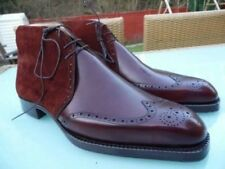 Mens Handmade Boots Genuine Suede & Leather Burgundy Formal Casual Shoes Lace Up