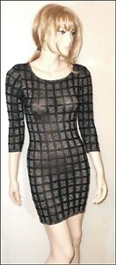 TopShop Knitted Glittery 2/3 Sleeve Bodycon Checked Dress size UK 6/8  EUR 34/36