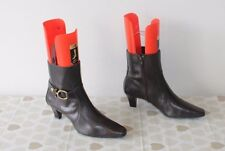 Brown Leather ANNE KLEIN IFLEX Pointed Mid Heel Casual Ankle Boots Sz 6.5 / 39.5