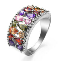 Monalisa Multi Color Pink Topaz Amethyst Peridot Garnet Silver Ring Size 6-10