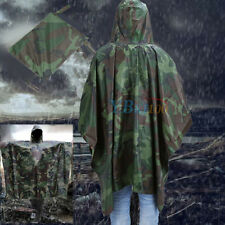 Waterproof US Army Hooded Ripstop Rain Poncho Military Hunting Camping Hiking
