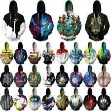 Abstract Women Men 3D Graphic Sweatshirt Zip Up Hoodies Tops Jumper Jacket E20