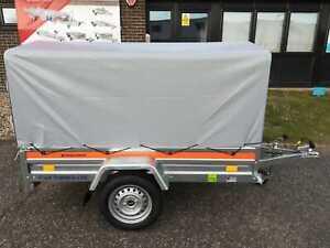 Car Trailer Single Axle Box Trailer 6'7 x 3'6 750 kg  H - 80 cm Grey Canopy