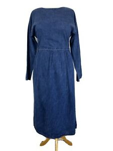 Warehouse Blue Long Sleeve Modest Maxi Midi Denim Dress Size 14
