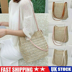 Women Lady Rattan Straw Bag Woven Wicker Beach Crossbody Shoulder Bohemian Bags