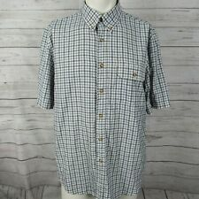 Tilley Endurables Large Shirt Mens White Blue Check Button Up