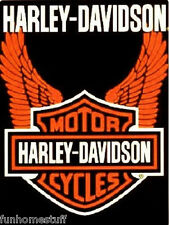 HARLEY-DAVIDSON ORANGE WINGS QUEEN SIZE 76x94 IN SOFT BIG WARM THROW BED BLANKET