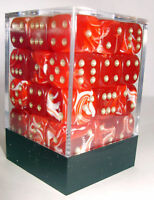 PACK OF 36 RED MARBLE SPOTTED DICE, 6 SIDED, 12mm SIDES