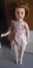"""Vintage 1950s Plastic Ballerina Walker Girl Character Doll 18"""" Tall"""