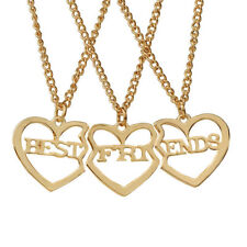 New 3 BEST FRIENDS Gold Heart Puzzle Pendants Friends Necklace Friendship