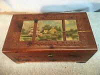 Vintage Wood Cedar Stash Box Trinket box Jewelry box  Cottage Litho picture