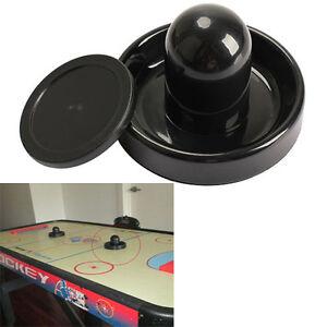 96mm Air Hockey Table Felt Pusher Mallet Goalies w/ 1pc 63mm Puck Plastic Black