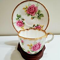 ANTIQUE TAYLOR & KENT TEACUP AND SAUCER HAND PAINTED CABBAGE ROSE & GOLD GILT