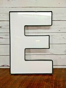 "Jewelite 18"" x 12"" White and Black Acrylic Letter ""E"" Sign Decor Wall Art Craft"