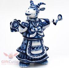 Gzhel porcelain figurine of she Goat in Russian folk dress playing on tambourine