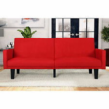 DHP Metro Split Futon Sofa Bed Couch Sleeper Modern Living Room Furniture Red