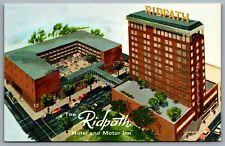 Postcard Spokane WA c1960s The Ridpath Hotel and Motor Inn Old Cars Pool Defunct