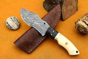 MH KNIVES CUSTOM HANDMADE DAMASCUS GUT HOOK HUNTING/SKINNER KNIFE D-82M