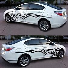 2x Black Flame Side Door Racing Stripes Vinyl Graphics Decal Car Body Sticker