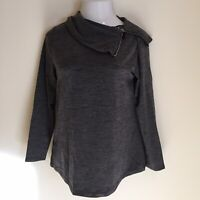 Weekends By Chico's Womens Pullover Top Size 0 Small Gray Long Sleeve New