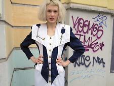 entree Berlin Mode Kostüm DamenKleid Kleid Marine Motiv 50s TRUE VINTAGE dress