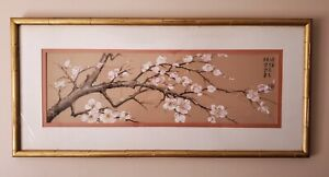 Vintage Signed Oriental Floral Painting Asian Chinese Winter Plum Blossom Flower