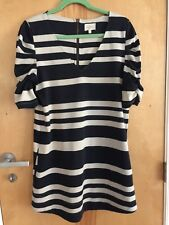 ANTHROPOLOGIE NAVY/WHITE STRIPED KNIT TUNIC DRESS RUCHED SLEEVES SZ LARGE