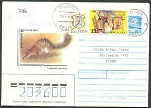 ESTONIA Sc#204 on Dec. 31, 1991 Registered Combo Cover with Russian Stamps