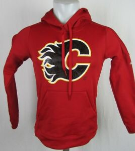 Calgary Flames Men's Adidas Red Drawstring Climawarm NHL Hoodie