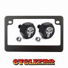 "Metal ""Black"" Motorcycle License Plate Frame +Tag Fasteners Kit PUNISHER SKULL G"