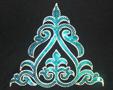 turquoise sequin embroidery patch lace applique motif dress irish dance costume