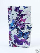LG G4   5,5 Zoll Case Flip Etui Tasche Hülle Schmetterlinge blau lila