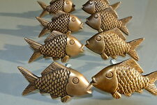 "8 aged ANTIQUE old style FISH Cabinet Door solid Brass KNOB Drawer Pull 2"" B"