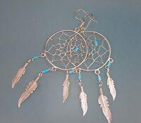 Southwestern 925 Sterling Silver Turquoise Dreamcatcher Dangle Hook Earrings