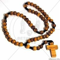 OLIVE WOOD Rosary BROWN Rope CATHOLIC prayer BETHLEHEM HOLY LAND