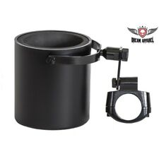 Motorcycle Flat Black Cup Holder Fits Most Motorcycle Handle Bars