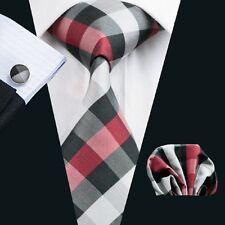 100% Pure Silk Neck Tie Cuff-links &Handkerchief Set Black Grey & Red Check