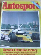 AUTOSPORT MAGAZINE JAN 1980 RENAULT'S BRAZILIAN VICTORY FIAT DOMINATES MONTE CAR